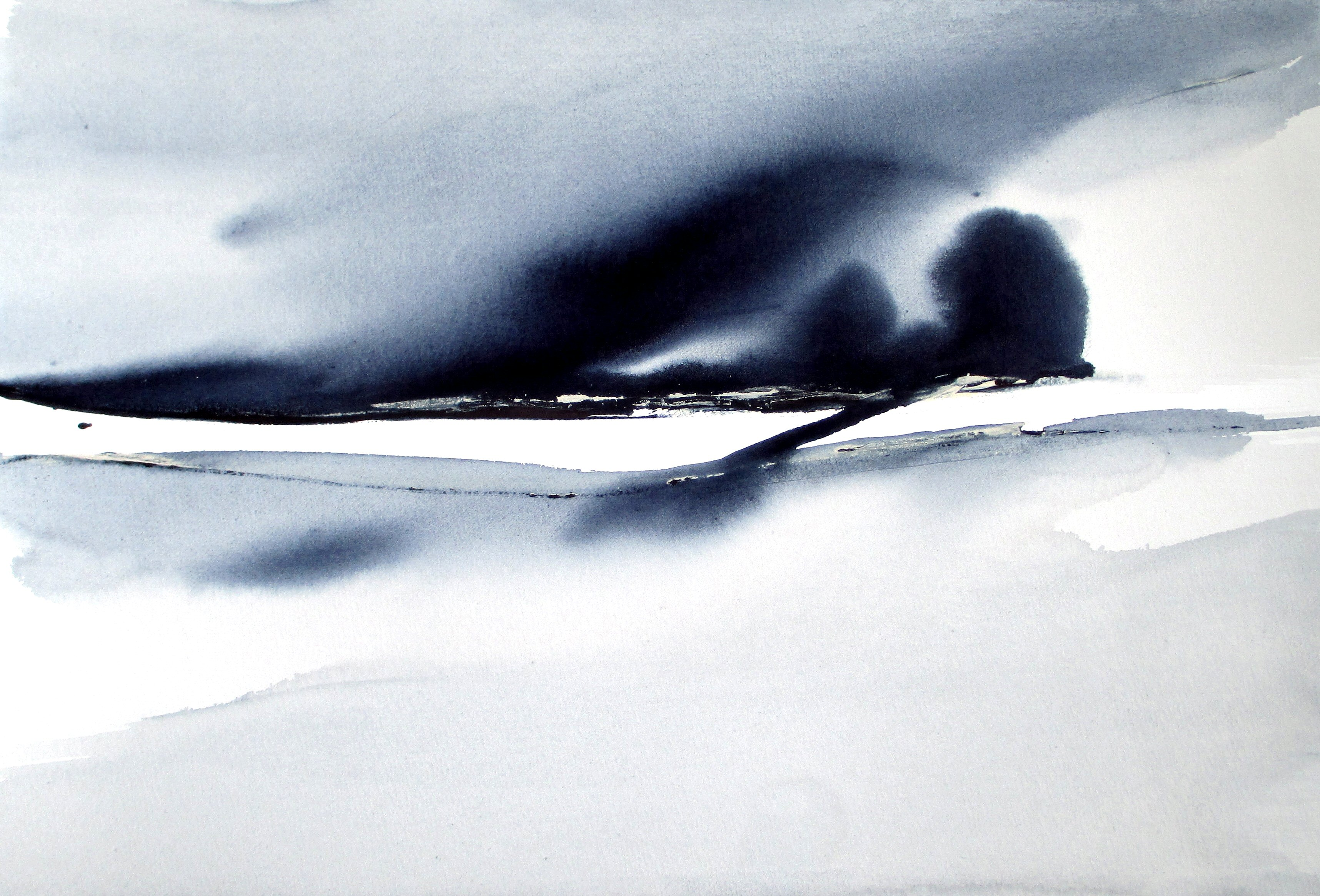 blue minimal abstract landscape watercolor