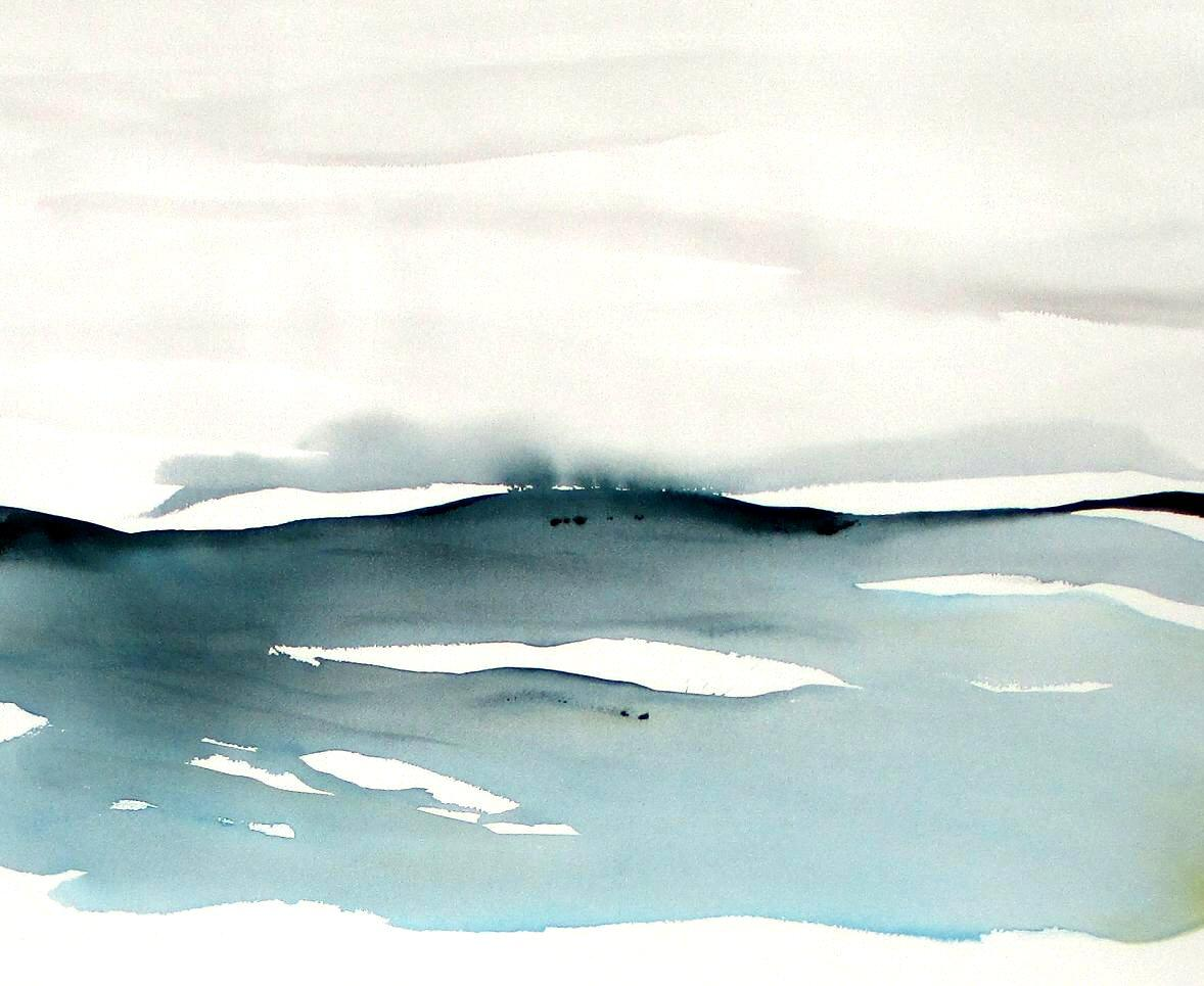 modern landscape watercolor