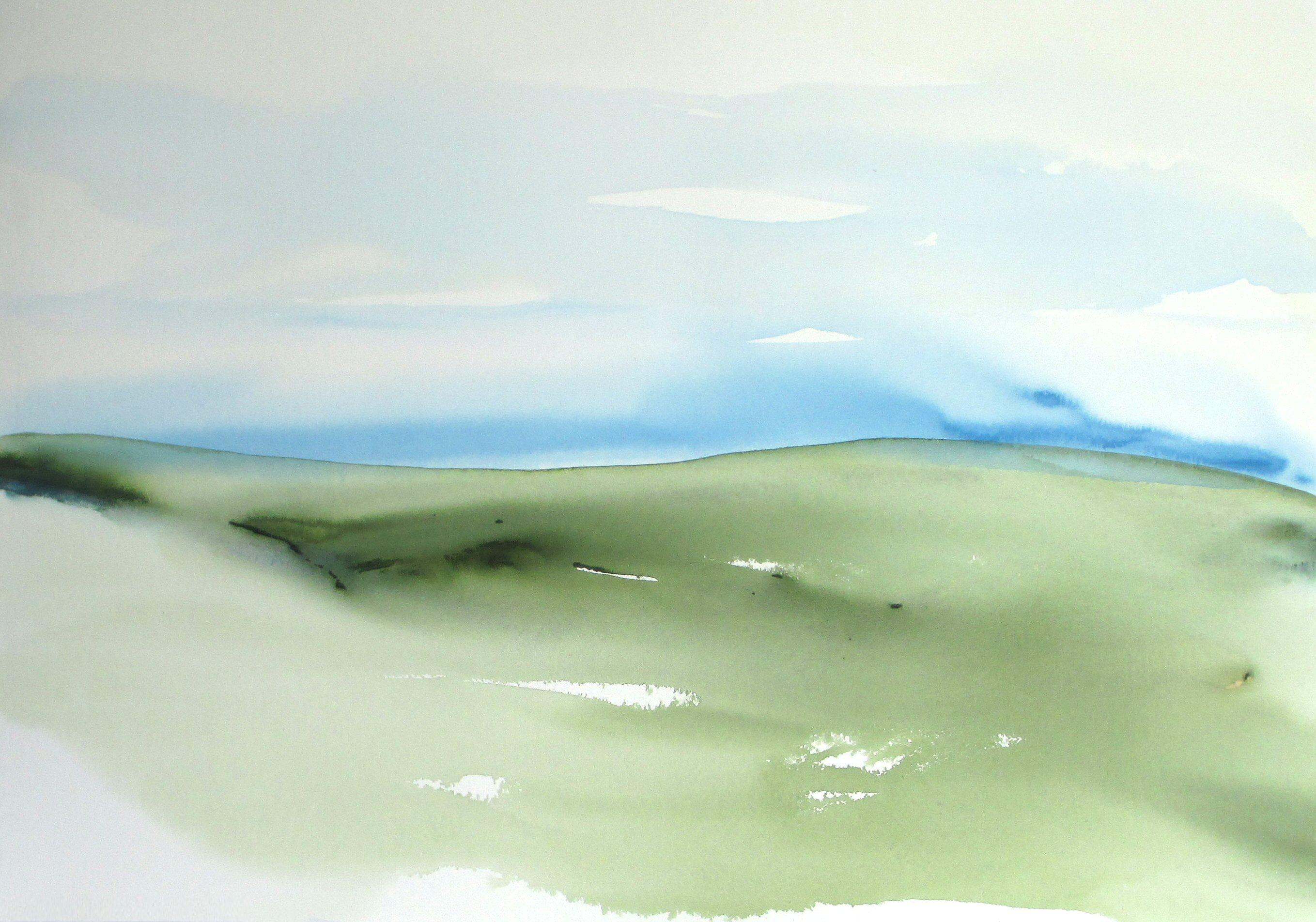 contemporary abstract landscape watercolor