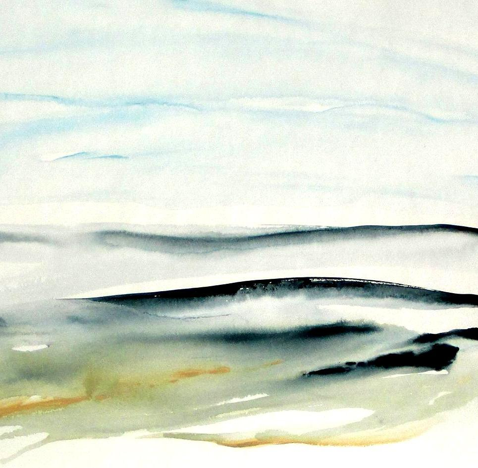 Modern Abstract landscape watercolor painting