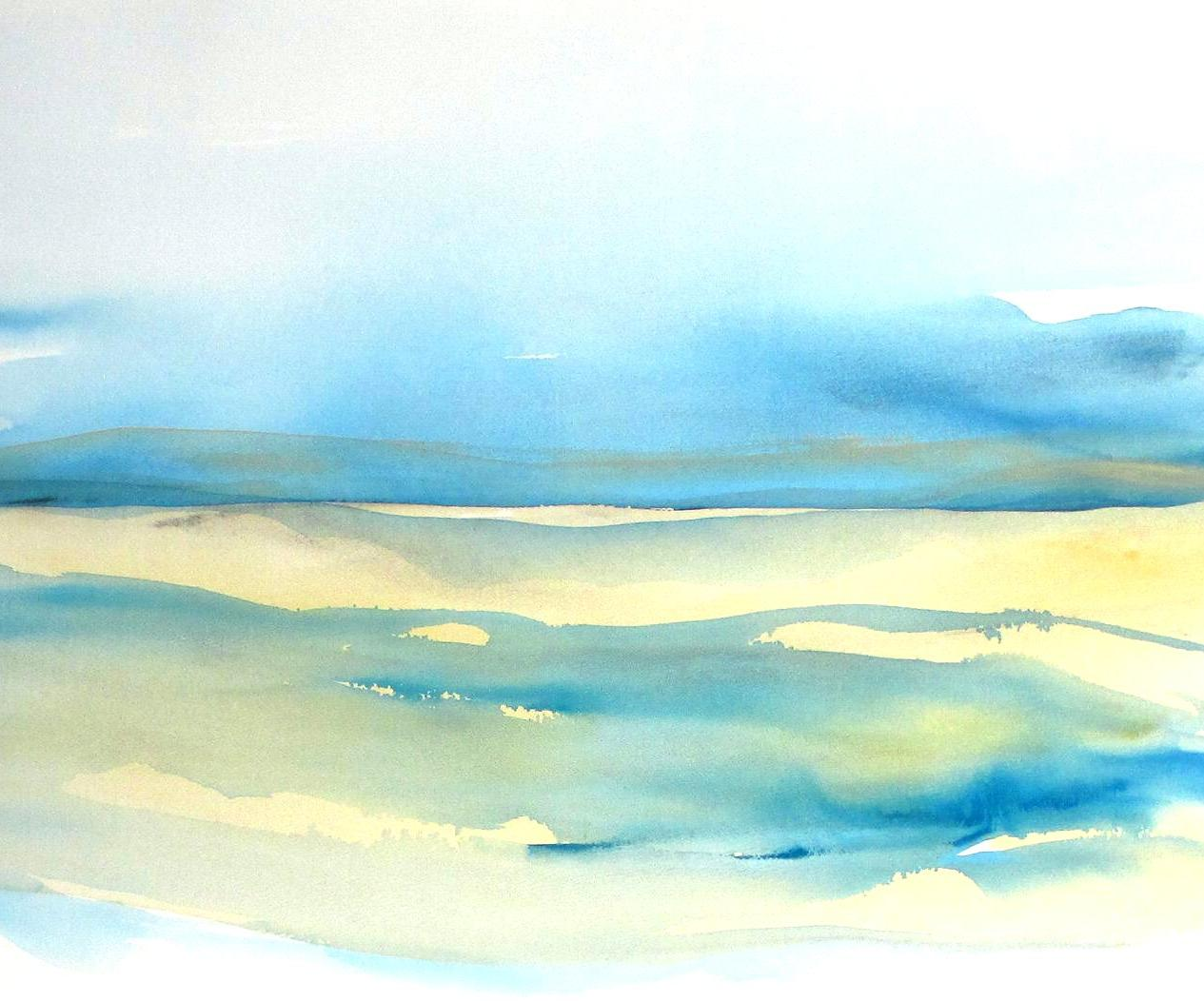 abstract seascape watercolor