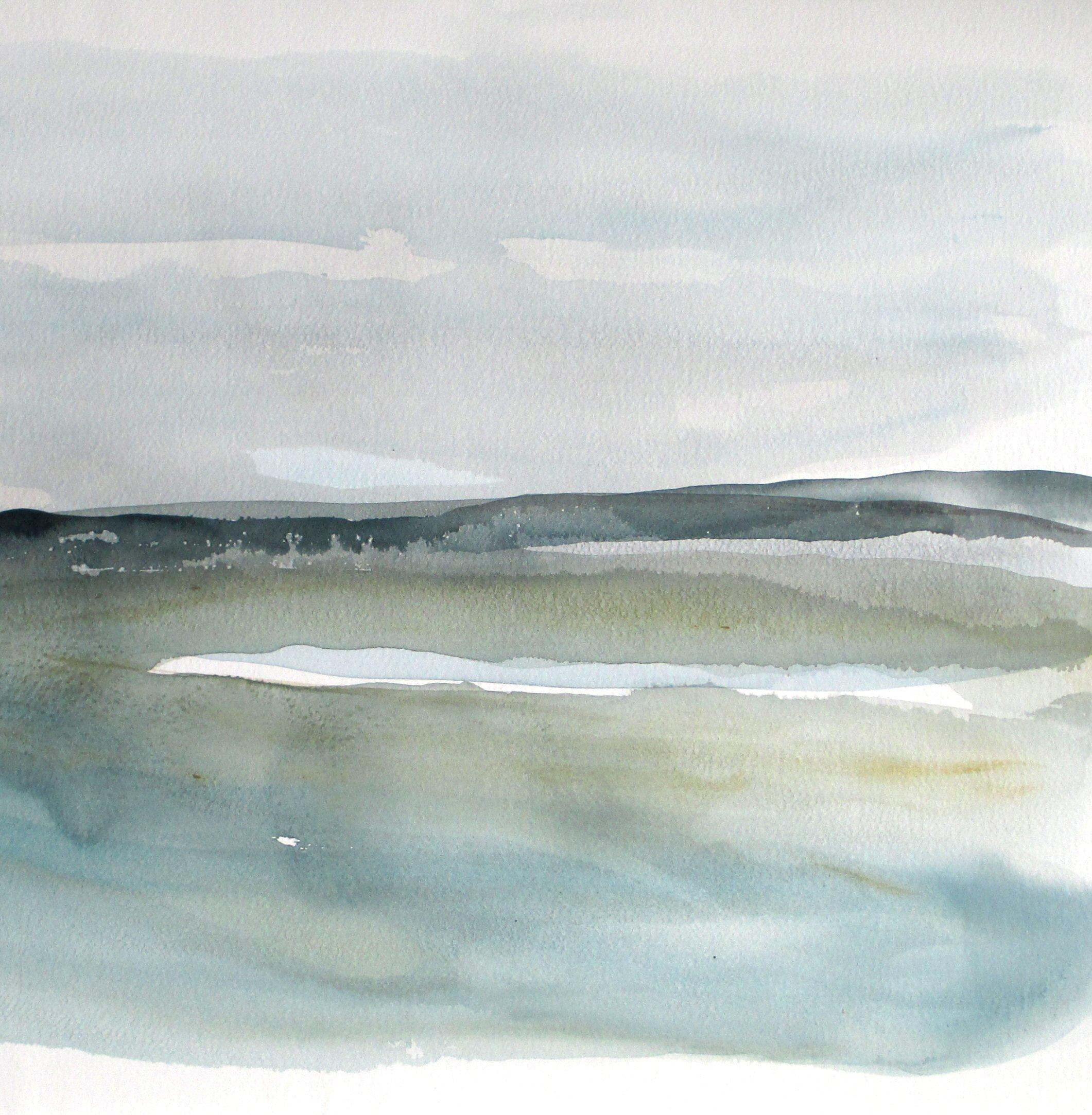 original abstract seascape watercolor
