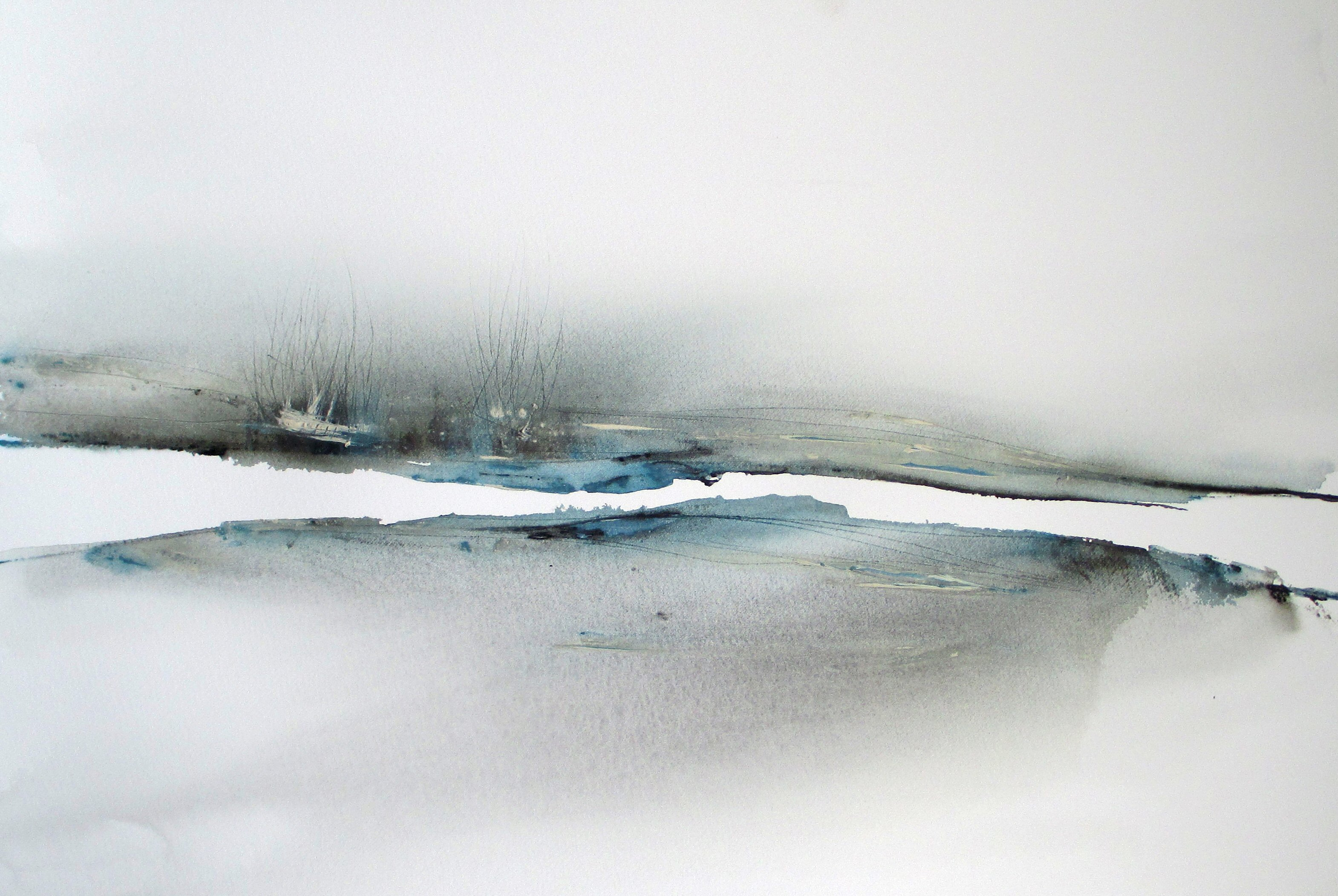 abstract seascape watercolor painting