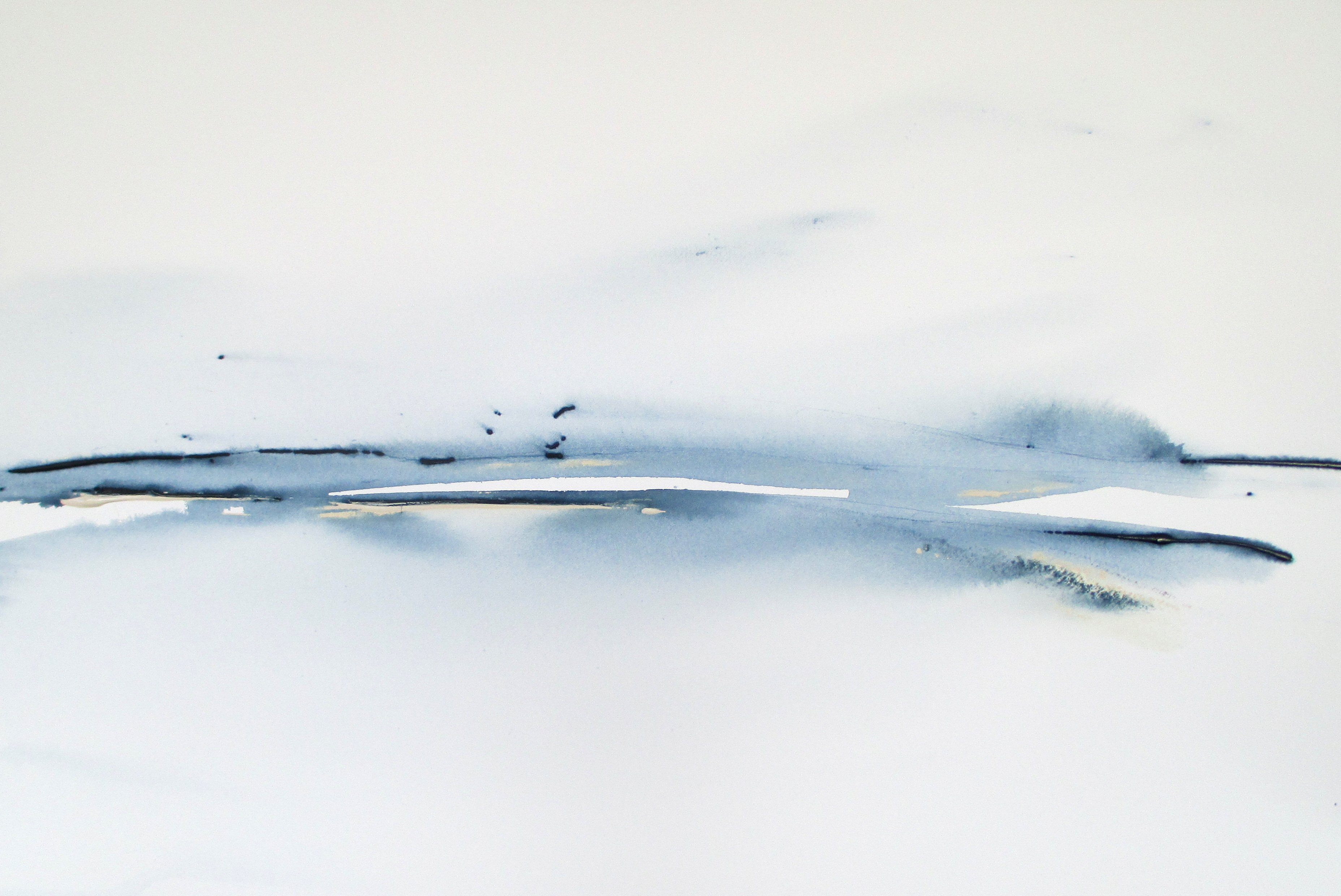 minimalist modern abstract watercolor landscape painting