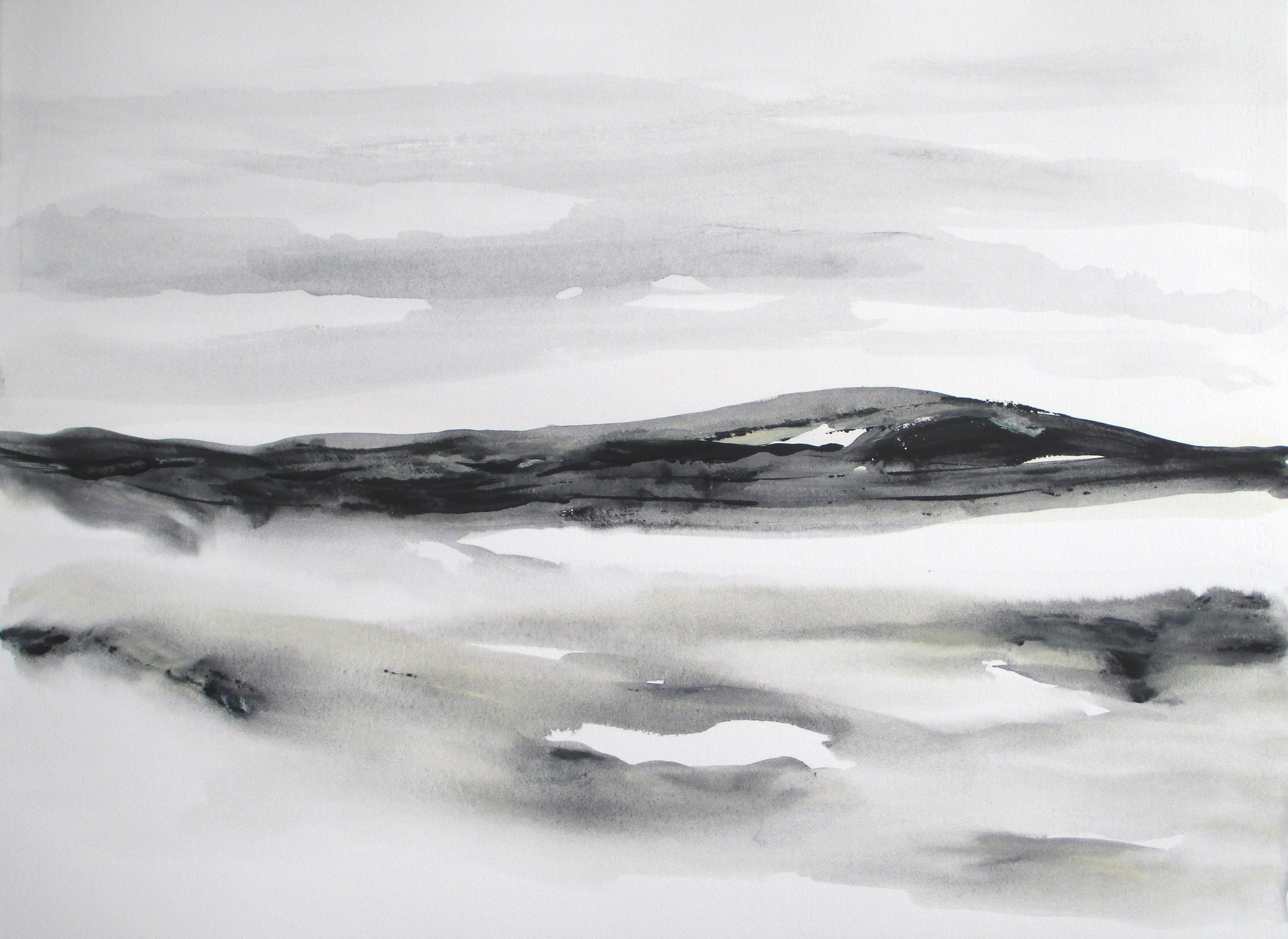 black and white abstract watercolor landscape painting