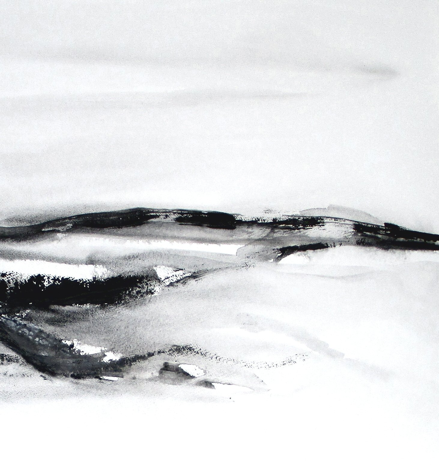 black and white modern abstract landscape watercolor