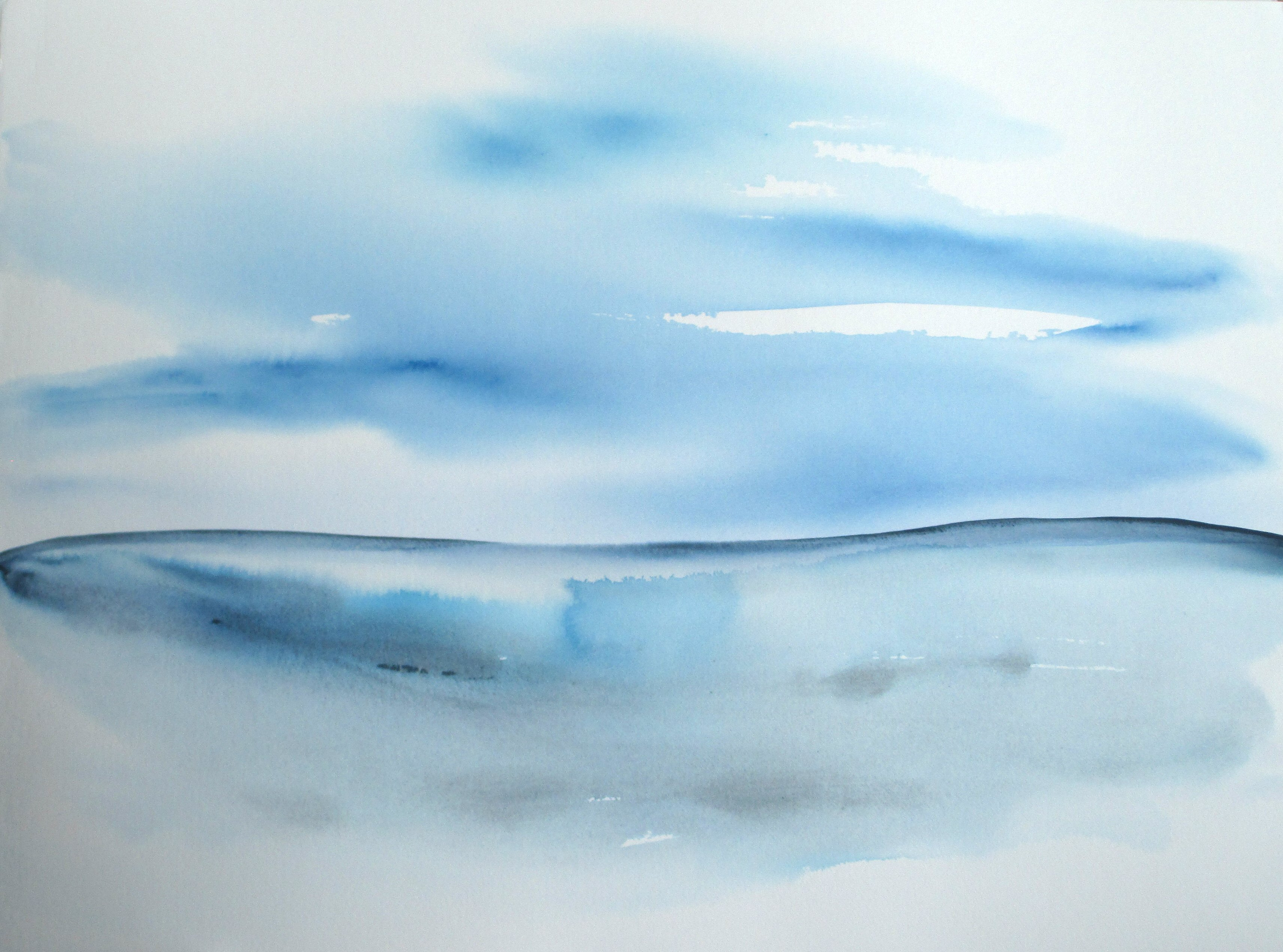 contemporary abstract blue seascape watercolor