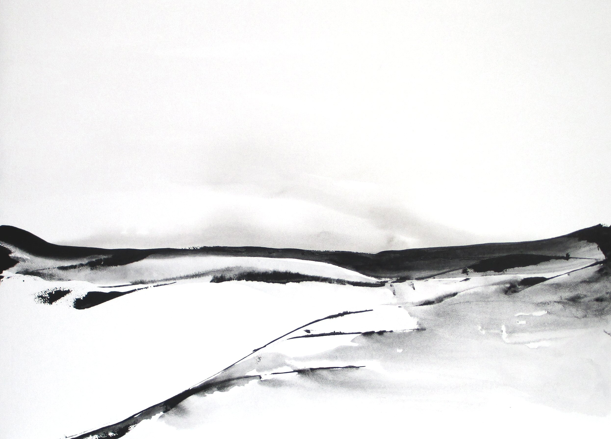 original black and white abstract landscape watercolor