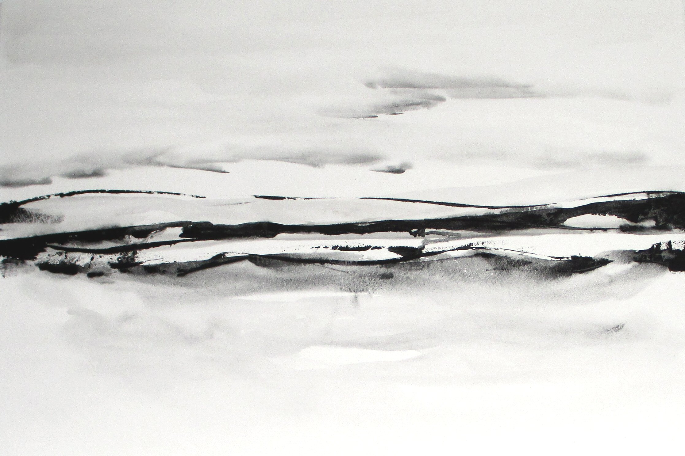 black and white landscape watercolor painting
