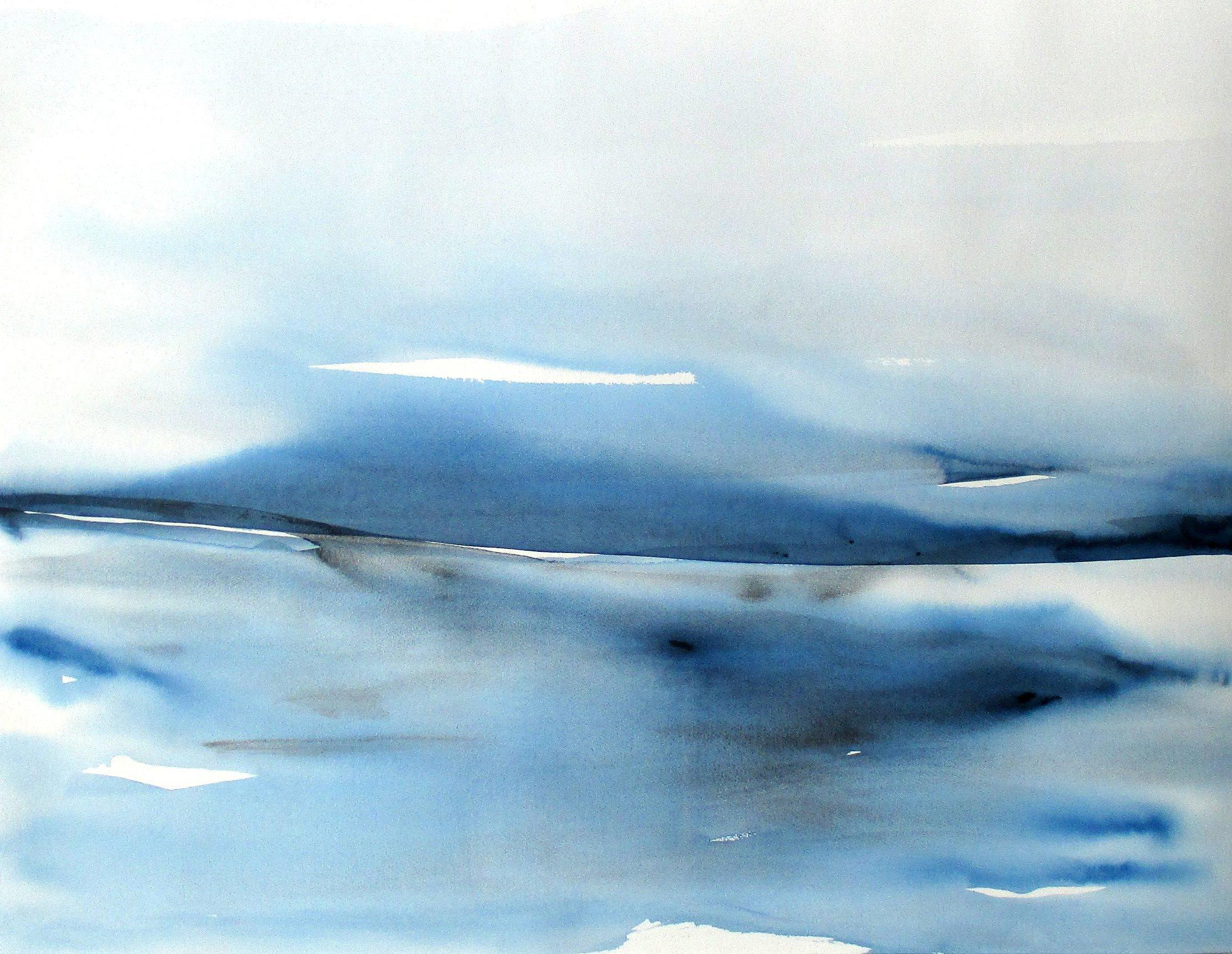 abstract modern seascape watercolor