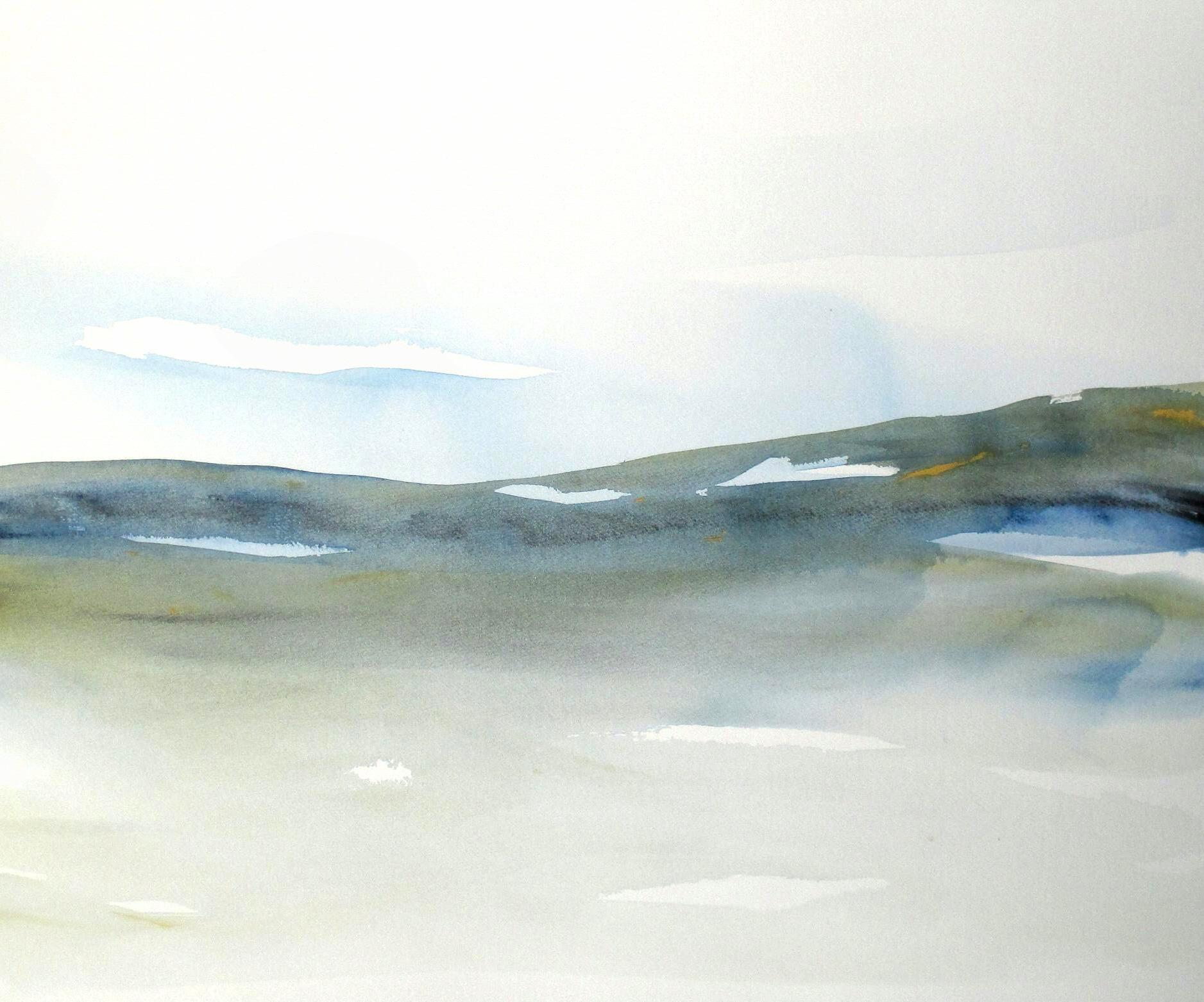 original abstract landscape watercolor